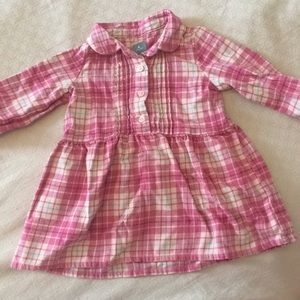 Pink and white flannel plaid pleated shirt dress
